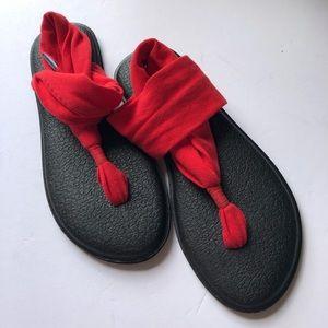 Sanuk yoga sling red sandals